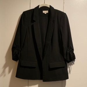 LOFT Rusched Sleeve Open Front Blazer